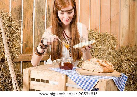 Redhead Hippie Woman Have Breakfast In Barn