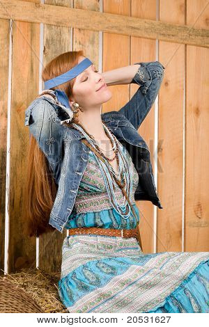Fashion Model - Hippie Young Red-hair Woman