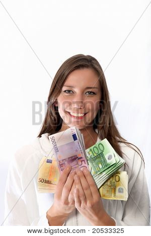 Smiling Woman With A Lot Of Money
