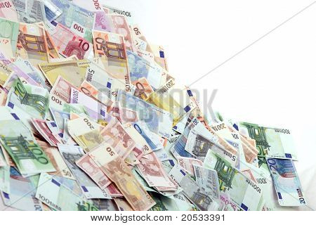 A Large Pile Of Euro Notes