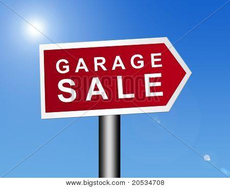 Sinal de venda de garagem