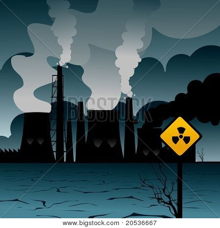 Nuclear plant global warming vector illustration