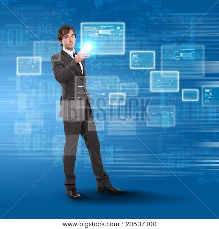 young man touches a virtual surface