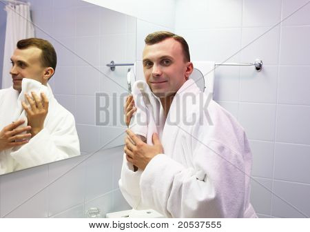 young man in bathroom