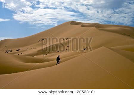 Man lost in desert dunes
