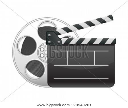 Film clap board and video film tape cinema vector illustration. Eps 10