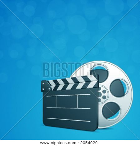 Film clap board and video film tape cinema vector background. Eps 10.