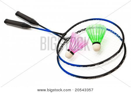 racket and shuttlecock badminton on a white background