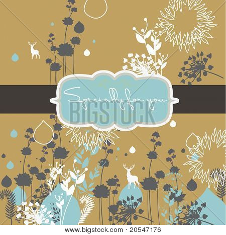 floral pattern printed on recycle paper- card design - book cover