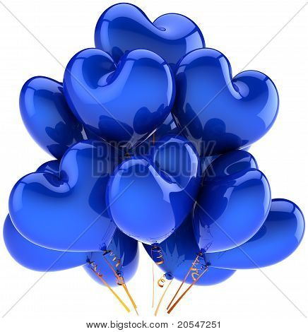 Balloons blue birthday party holiday heart shaped decoration