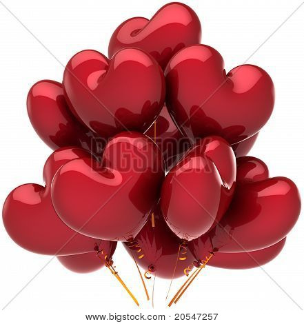 Love balloons in form as hearts