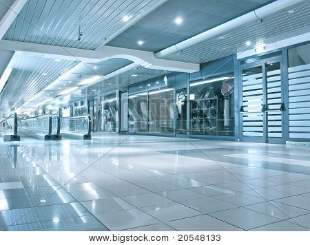 blue vanishing transparent hallway