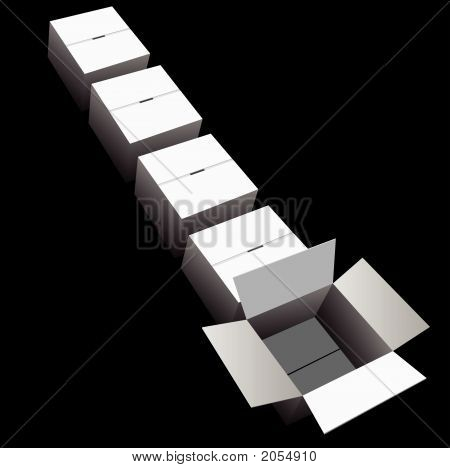 Shipping Line Boxes On Black.Eps