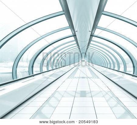 airport interior, vanishing walkway with transparent wall