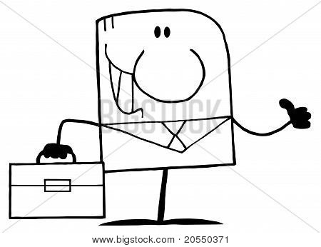 Outlined Thumbs Up Businessman