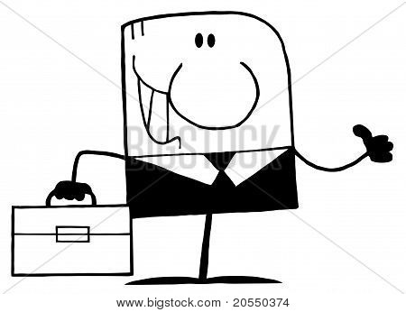 Black And White Thumbs Up Businessman