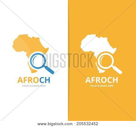 poster of Vector africa and loupe logo combination. Safari and magnifying symbol or icon. Unique geography, continent and search logotype design template.