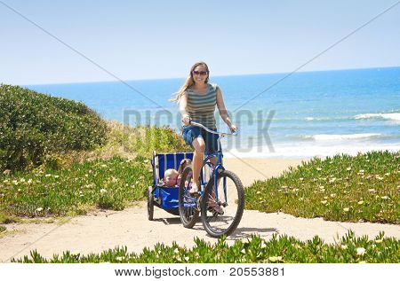 Women and Children enjoying a Beachside Bicycle Ride