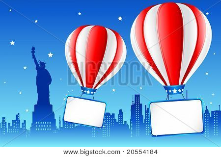 Hot Air Ballon On New York