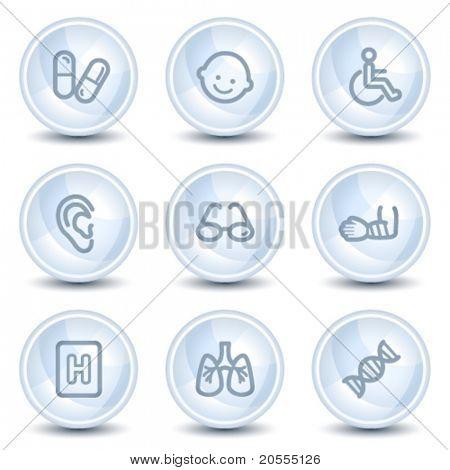 Medicine web icons set 2, light blue glossy circle buttons