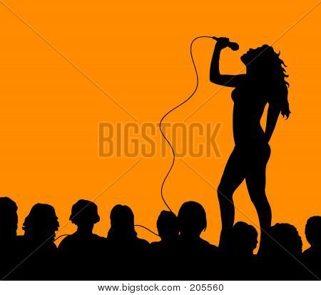 Female Singer With Crowd Large