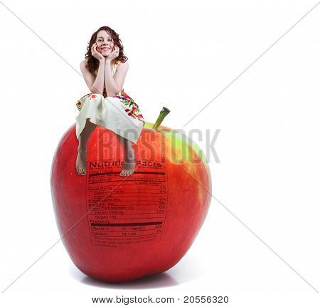 Red Delicious Apple With Nutrition Label