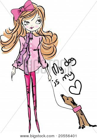 fashion illustration dog circulating