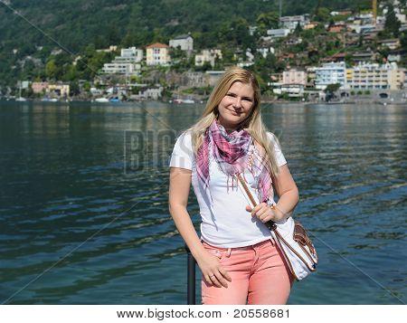 Pretty Casual Tourist Woman In Ascona, Switzerland