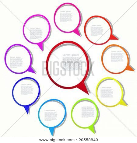 Round stickers with bright frames and a space for your text.