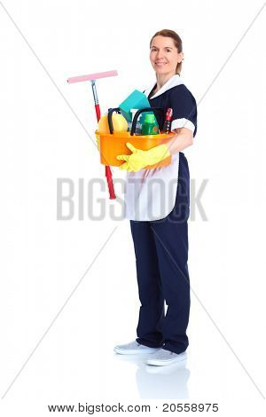 Housemaid cleaner. Isolated over white background. Service.