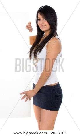 Sexy Girl Holding An Add