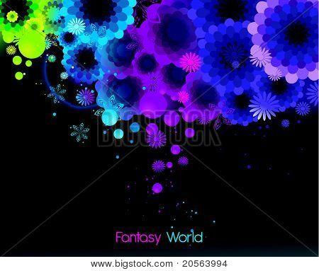 neon floral vector illustration