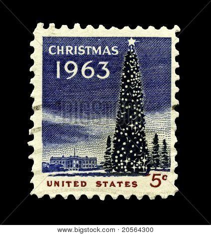 Usa 1963 Christmas Stamp, The White House And National Christmas Tree