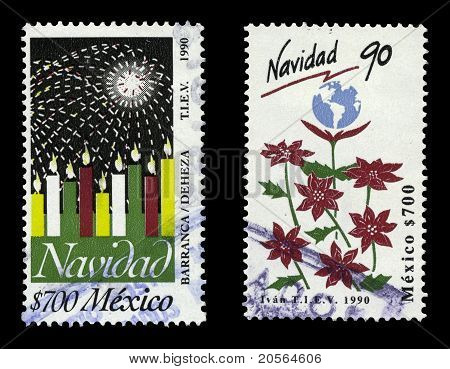 Mexico 1990 Navidad Stamps, Candles, And Poinsettias