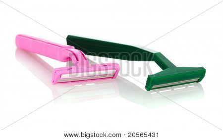 pink lady   and green men's shaver on white background