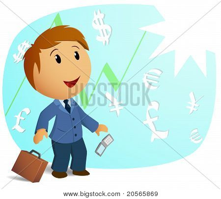 Happy Shocked Businessman With Throw Case