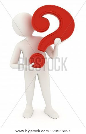 3D Man Holding Question Mark
