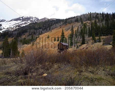 Old abandoned mining shack in the mountains north of Silverton Colorado