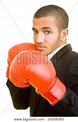 Business Man With Boxing Gloves