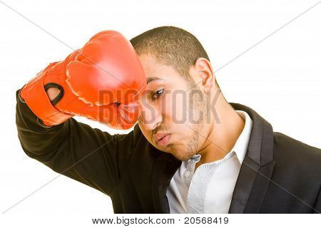 Tired Manager With Boxing Gloves