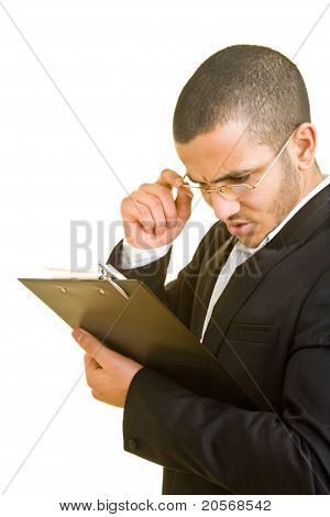 Manager Looking At Clipboard
