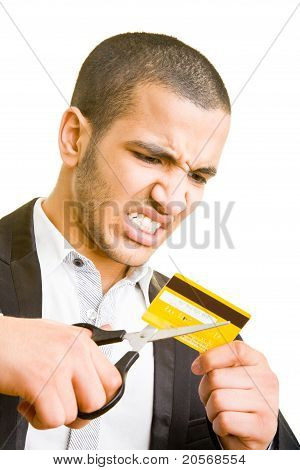 Business Man Cutting Credit Card