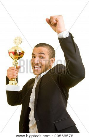 Manager Cheering With Trophy