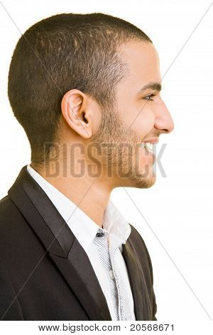 Side View Of Happy Business Man