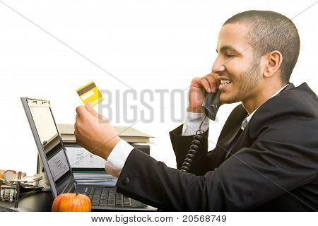 Business Man Buying Online With Credit Card