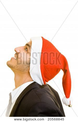 Business Man With Christmas Hat