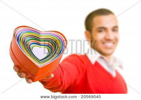 Man Offering Hearts