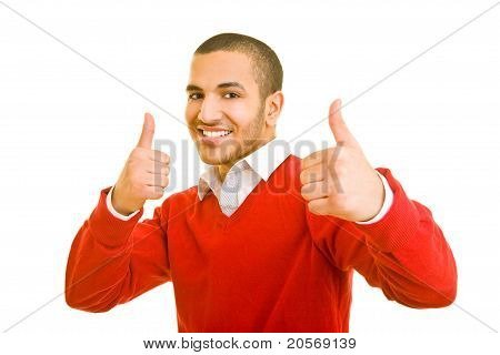 Student Holding Thumbs Up