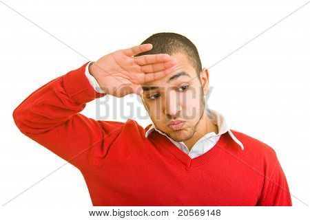 Man Wiping Off His Forehead