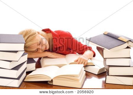 Woman Asleep On Books